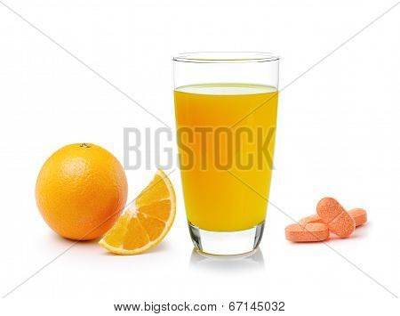 Orange Juice In Glass, Orange Fruit With Vitamin C Tablet On White Background