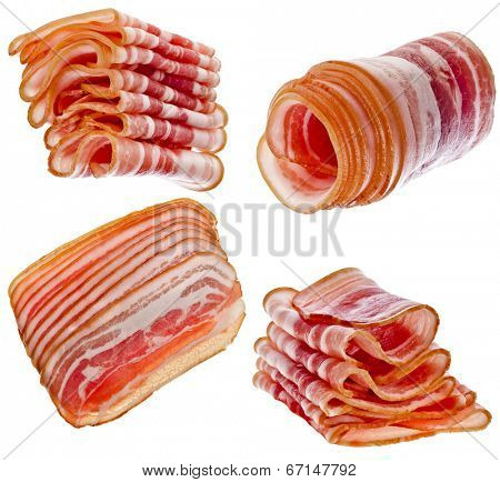 Collection set of Bacon Slices isolated On White Background