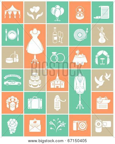 Wedding Icons White Silhouette