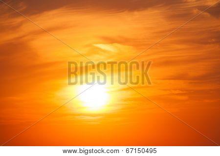 Orange Sunset On The Sea Horizon, Skyline