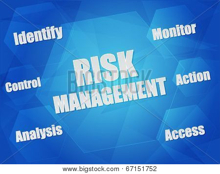 Risk Management And Business Concept Words In Hexagons