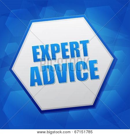 Expert Advice In Hexagon, Flat Design