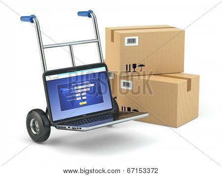Online delivery concept. Laptop as hand truck and boxes. 3d