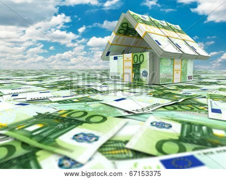 Bank. House from pack of euro on cloudscape. 3d