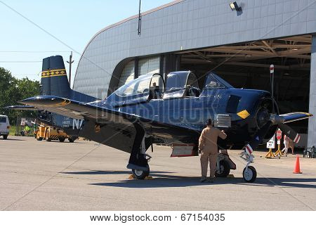 Pilot Executes Preflight Inspection Of North American T-28 Trojan ? Hamilton Skyfest 2014