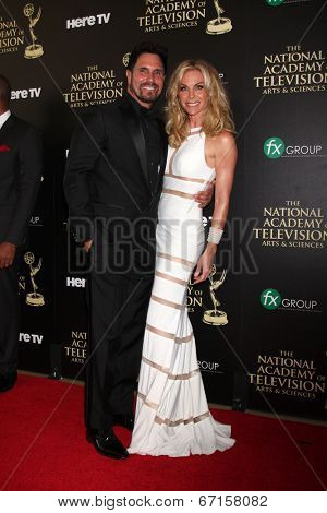 LOS ANGELES - JUN 22:  Don Diamont, Cindy Ambuehl at the 2014 Daytime Emmy Awards Arrivals at the Beverly Hilton Hotel on June 22, 2014 in Beverly Hills, CA