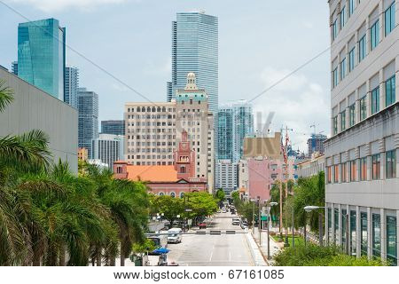 MIAMI,USA - MAY 27,2014 : Urban view of downtown Miami with modern skyscrapers along vintage buildings