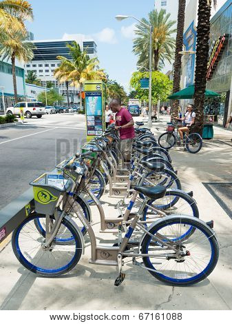 MIAMI,USA - MAY 20,2014 : Bicycles for rent as part of the Decobike program in Miami Beach
