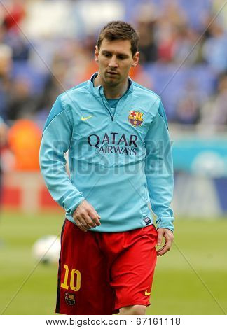 BARCELONA - MARCH, 29: Leo Messi of FC Barcelona before a Spanish League match against RCD Espanyol at the Estadi Cornella on March 29, 2014 in Barcelona, Spain