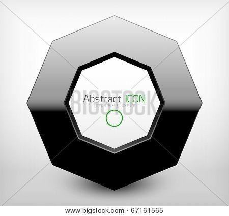 Black geometric business icon 3d concept
