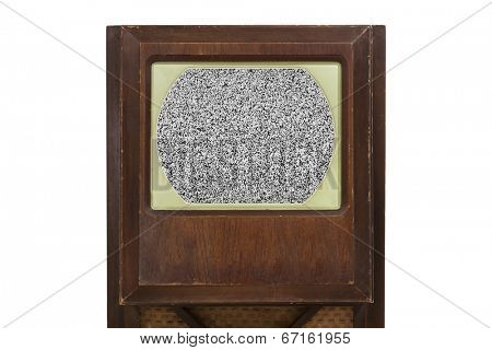 Vintage television with static filled screen.
