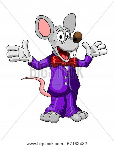 Happy cartoon mouse or rat in a suit
