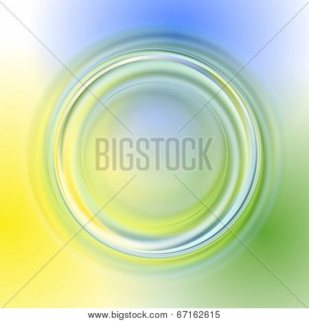 Green yellow blue vector abstract background with light circles and shadows