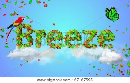 Breeze leaves particles 3D - digital art