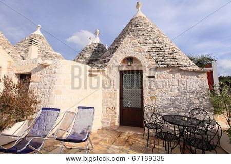 Trulli houses with conical roofs in Alberobello