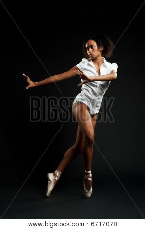 Alluring Ballerina In White Shirt