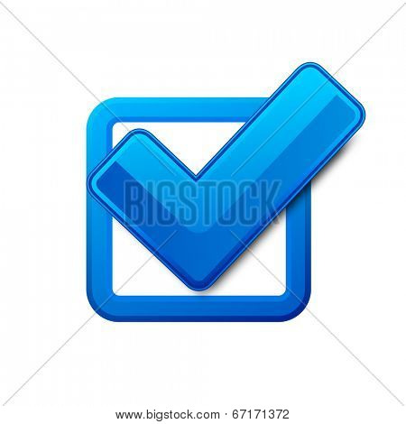 Blue check box with check mark. Vector illustration