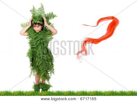 Plant Girl On Grass Isolated