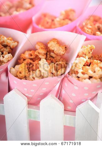 Popcorn in the pink bucket