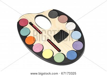 Painter's palette isolated on white : Clipping path included