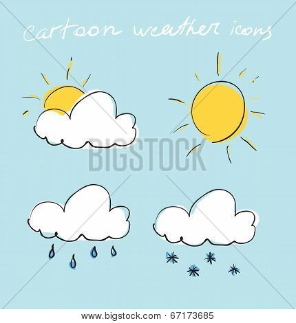 Cartoon weather icons set