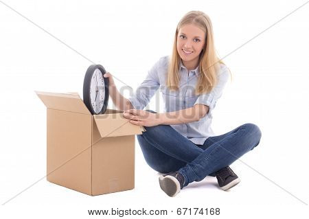 Young Beautiful Woman Packing Boxes And Moving Isolated On White