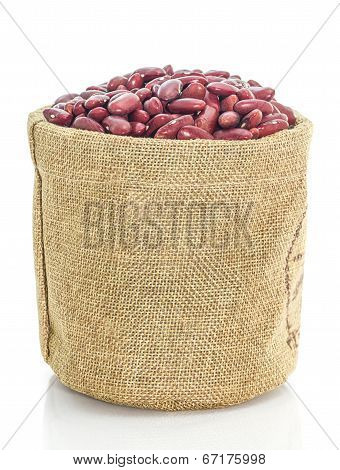 Kidney Beans In Sacks Fodder On White Background
