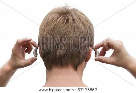 Back view of a deaf man's head