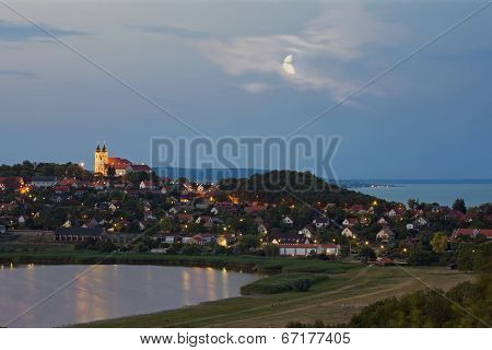 Benedictine Abbey At Night In Tihany, Hungary