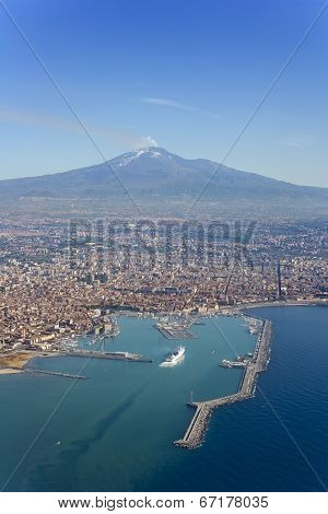 Bird's eye view of Catania