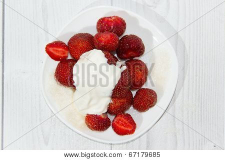 Strawberry in white plate