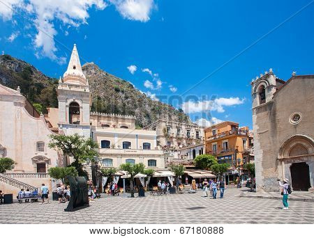 Taormina, Italy - May 11, 2012: Taormina Town Main Square Center With The Chiesa Di San Giuseppe Tem