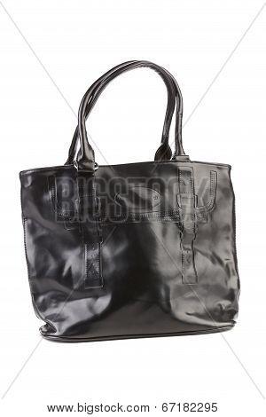 Black leather handbag.
