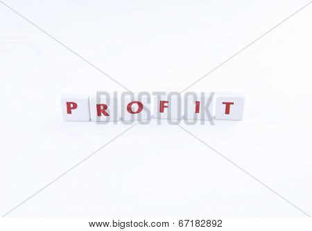 The word profit on a white background