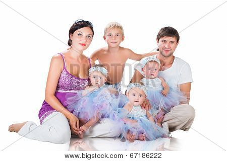 Big Happy Family: Mother, Father, Triplets Daughter And Son