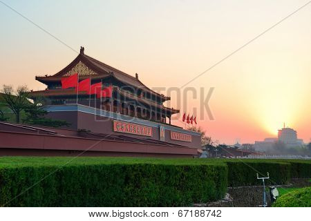 BEIJING, CHINA - APR 6: Tiananmen sunrise on April 6, 2013 in Beijing, China. Tiananmen is a famous monument in Beijing and serves as a national symbol.