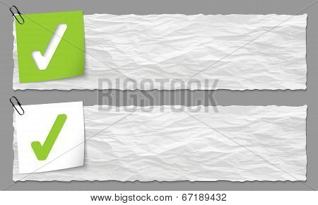 Set Of Two Banners With Crumpled Paper And Check Box