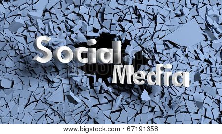 Abstract background with shattered wall and social media text