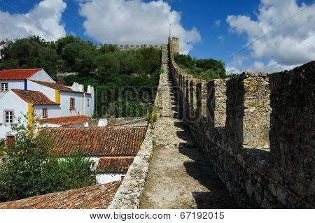 On Old Castle Wall, Obidos, Portugal