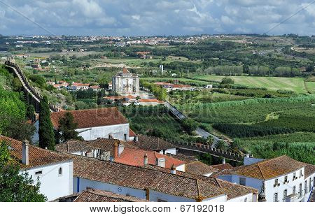 The Surrounding Countryside And Church Of Our Lord Jesus, Obidos, Portugal