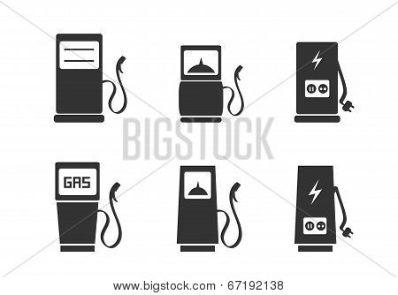 Charging station icons set