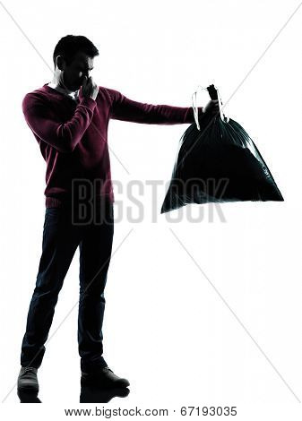 man dumping smelly garbage bag in silhouettes on white background