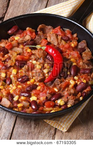 Chili Con Carne Close-up In A Frying Pan Vertical