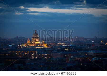 The Top View On The Night City Of St.-petersburg