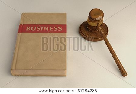 Gavel And Business Law Book On Linen Surface