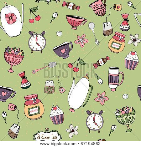 Pattern with teacups  teapots  sweets  and flowers
