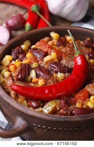 Mexican Hot Chili Con Carne Soup In A Tureen Vertical