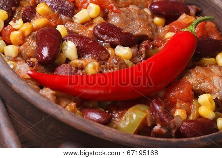 Mexican Hot Chili Con Carne Soup In A Bowl Macro.