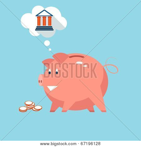 Banking piggy bank money into investments