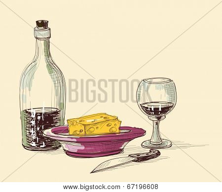 Bottle of wine, glass, plate with cheese and knife. Kitchen items, still life composition